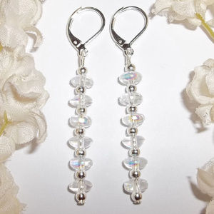 Clear Aurora Borealis & Silver Earrings Long 4912